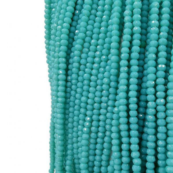 150 pcs x 3mm Glass Rondelle 222 Opaque Sea Green